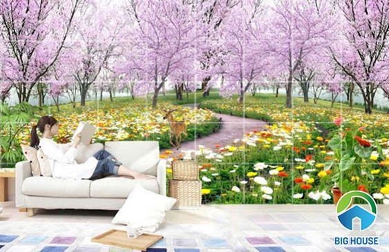 Không gian phòng khách đầy hoa lá với bức tranh gạch này