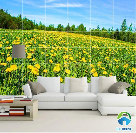 Cánh đồng hoa vàng cho không gian phòng khách thêm ấn tượng