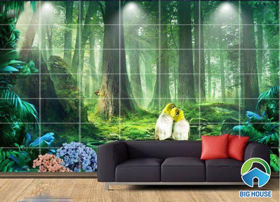gạch 3D phong cảnh rừng cây nguyên sinh