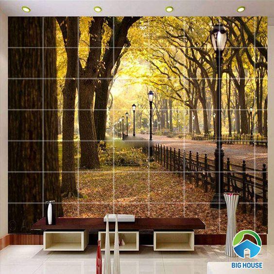 gạch 3d phong cảnh rừng cây