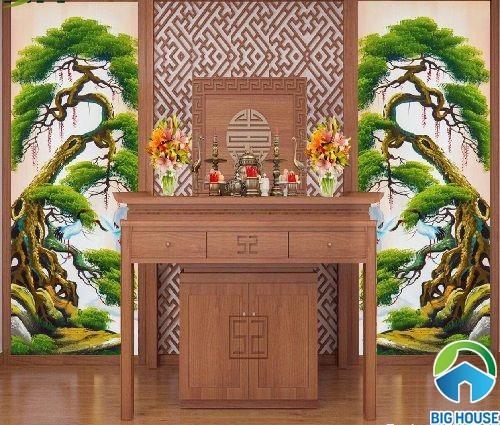 mẫu gạch 3d với hình ảnh 2 cây tùng cổ thụ