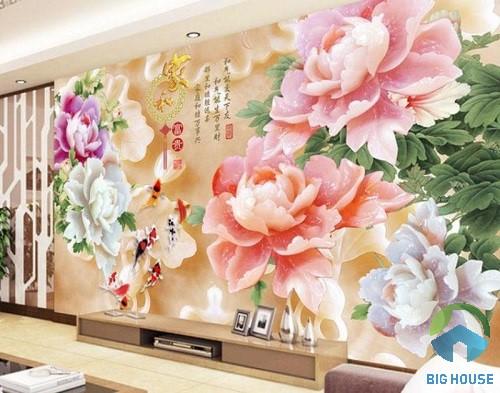 gạch 3d phong thủy hình hoa lá