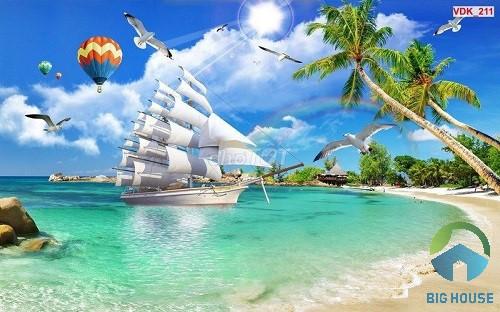 mẫu gạch 3D hình con thuyền buồm với biển cả đại diện cho những ước mơ, hoài bão