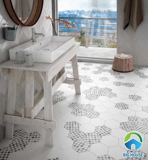 Gạch lục giác lát nền màu trắng và gạch bông họa tiết sợi vải