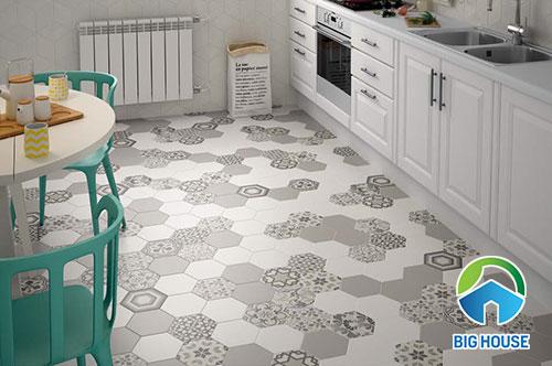 Gạch lục giác lát nền tone màu xám cho nhà bếp