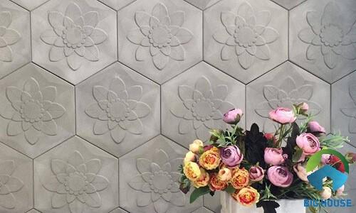 Mẫu gạch bông 6 cạnh màu xám họa tiết là hình hoa nổi bật