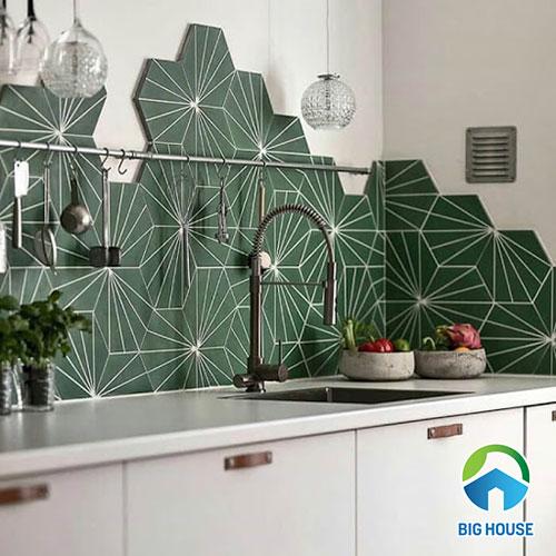 Ứng dụng gạch bông lục giác cho nhà bếp