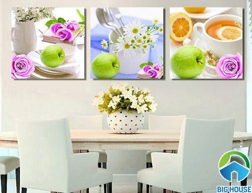Mẫu tranh gạch 3d ốp tường phòng ăn đơn giản
