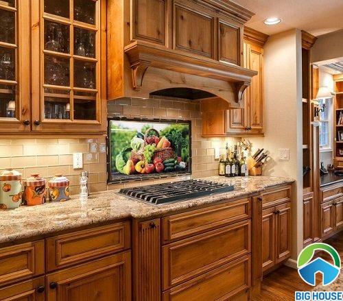 gạch tranh phòng bếp sinh động, nổi bật