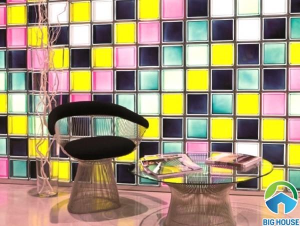 mẫu gạch ốp tường đa màu sắc