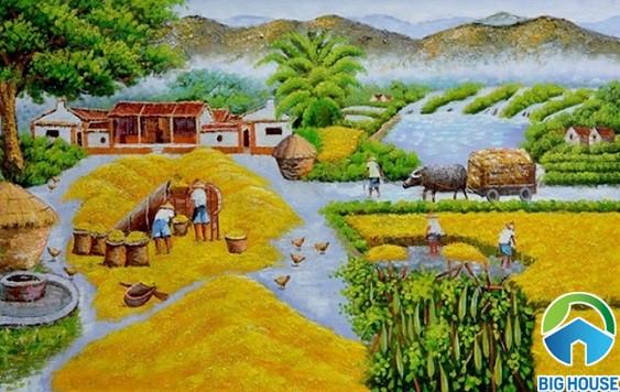 Mẫu gạch tranh với khung cảnh cánh đồng lúa và lá mùa thu