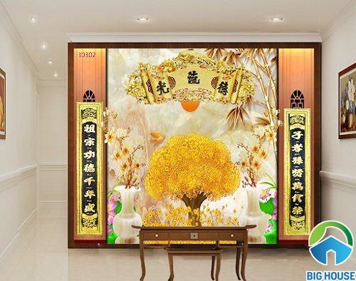 tranh gạch 3d phòng thờ hình ảnh cây kim tiền