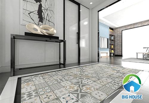 Gạch thảm hoa văn cổ điển viền màu đen và trắng