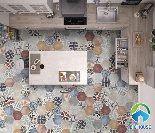 Gạch hoa văn lục giác lát nền phòng bếp