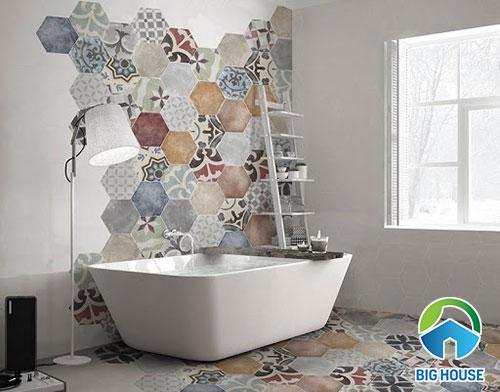 Gạch bông lục giác đa màu sắc cho phòng tắm