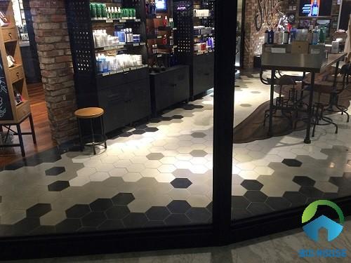 Mẫu gạch bông tổng hợp patchwork lát nền cho không gian quán cà phê