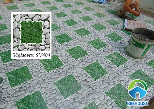 Mẫu gạch sỏi sân vườn Viglacera SV404 tươi mát