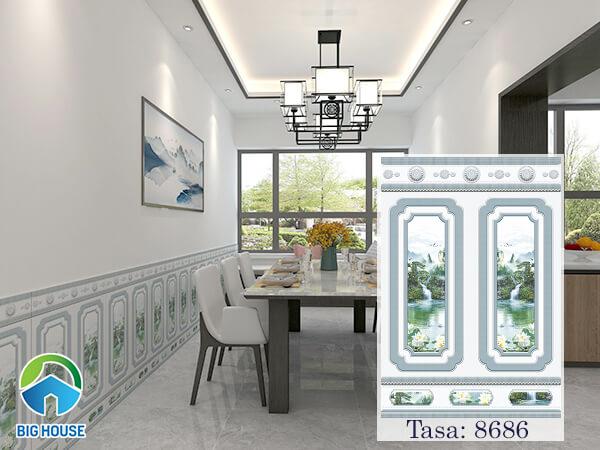 Gạch ốp chân tường Tasa 60x86cm mã 8686 tone màu xanh nhẹ