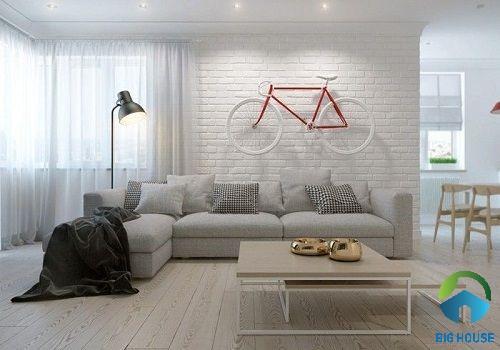 Mẫu gạch ốp màu trắng cho không gian phòng khách đơn giản