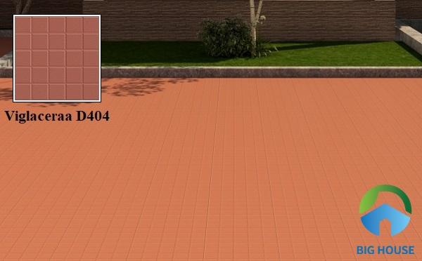 Mẫu gạch lát sân thượng 40x40 Viglacera D404 tông màu đỏ nổi bật