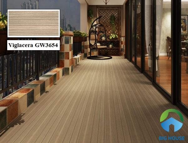Gạch giả gỗ Viglacera GW 3654 kích thước 30x60cm, bề mặt nhám chống trơn