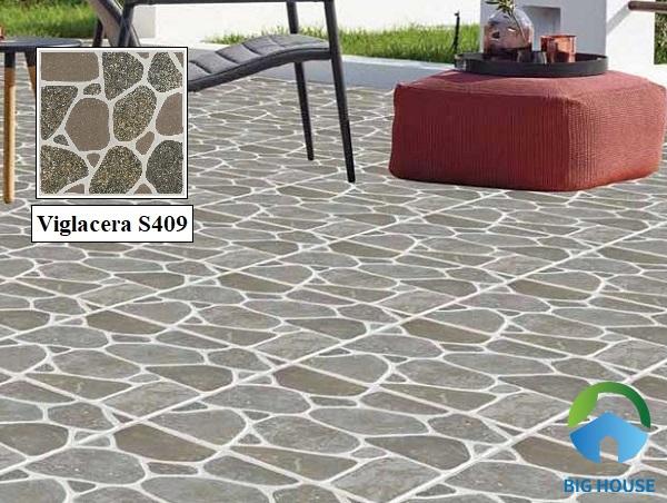Gạch lát sân thượng Viglacera S409 họa tiết sỏi đá xám ấn tượng