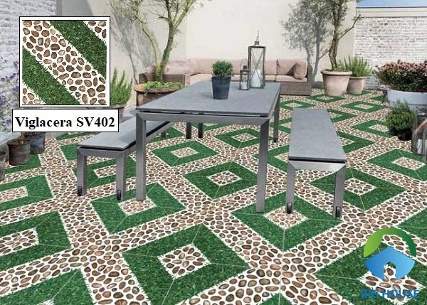Mẫu gạch lát sân thượng chống nóng Viglacera SV402 họa tiết giả sỏi xen kẽ giả cỏ