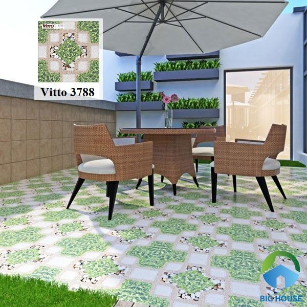 mẫu gạch lát sân thượng đẹp Vitto 3788 họa tiết giả sỏi kết hợp giả cỏ