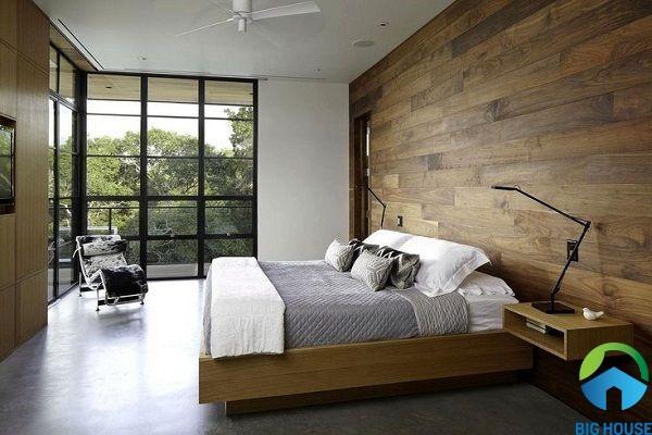 mẫu gạch giả gỗ thanh dài cho không gian phòng ngủ tăng thêm vẻ đẹp ấm cúng, gần gũi