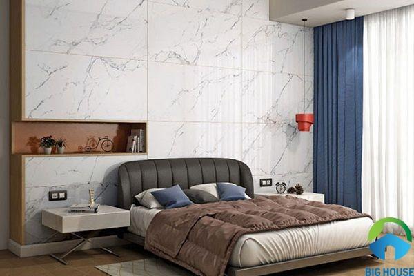 gạch vân đá ốp tường phòng ngủ sang trọng, hiện đại