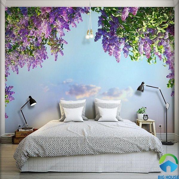 gạch ốp tường phòng ngủ 3d với giàn hoa tím nổi bật, thơ mộng