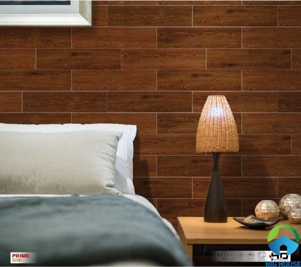 Gạch ốp phòng ngủ Prime 15x60 09538 họa tiết vân gỗ nâu đậm