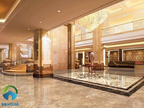 Gạch marble vân đá nâu hiện đại lát đại sảnh khách sạn