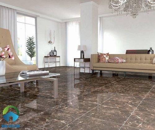 Gạch vân đá nâu cho không gian phòng khách sang trọng