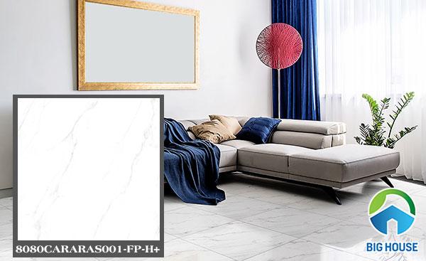 Gạch lát nền phòng khách Đồng Tâm 8080CARARAS001-FP-H+ màu trắng
