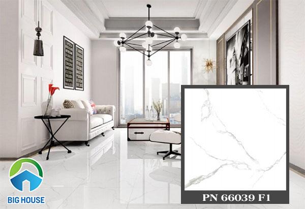 Mẫu gạch lát nền nhà PN66039 F1 màu trắng, vân đá marble