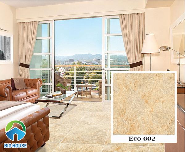 Gạch vân đá Eco 602 màu nâu vàng nổi bật