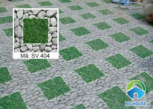 Mẫu gạch sân vườn SV404 của Viglacera họa tiết giả sỏi kết hợp giả cỏ