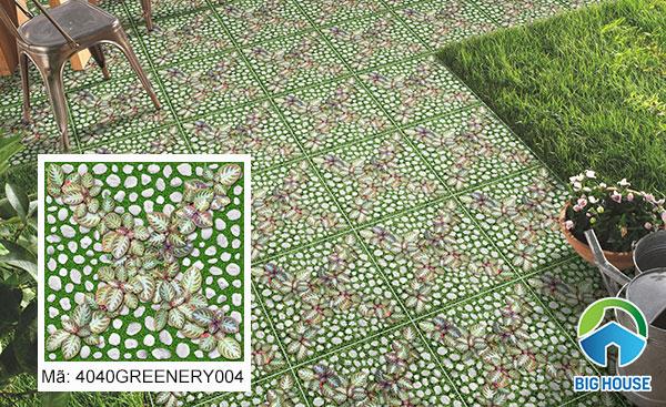 Gạch Đồng Tâm lát sân vườn họa tiết giả cỏ cây, sỏi đá mã 4040GREENERY004