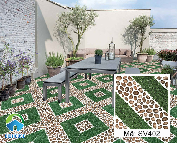 Gạch lát sân vườn viglacera SV402 họa tiết giả cỏ xen lẫn giả sỏi ấn tượng
