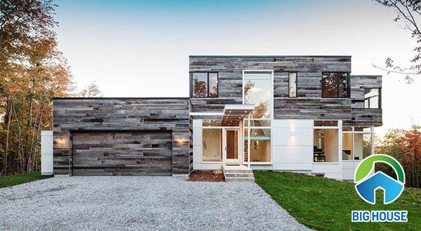 Gạch ốp tường mặt tiền nhà vân gỗ họa tiết gỗ giả cổ