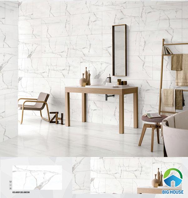 Gạch marble ốp tường màu trắng, vân xám