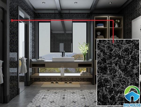 Gạch vân đá hoa cương màu đen Viglacera Q2555 cho không gian phòng tắm