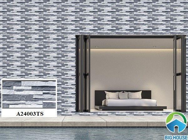 Mẫu gạch ốp tường giả đá Ý Mỹ A24003TS gam màu xám xanh trung tính đơn giản