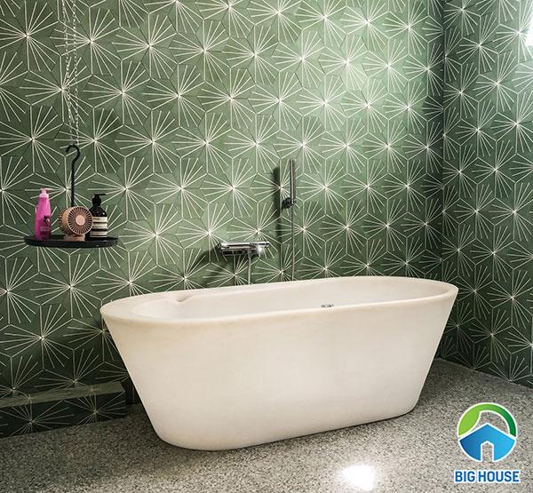 gạch bông lục giác màu xanh rêu ốp nhà tắm