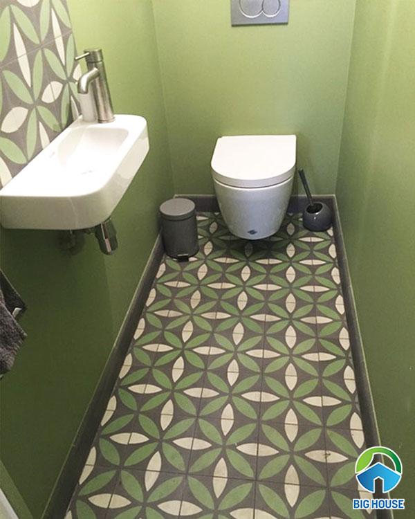 Mẫu gạch hoa văn lát nền nhà tắm hình lá