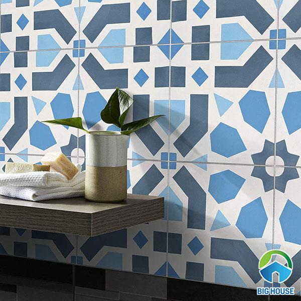 gạch bông màu xanh kết hợp giữa hình hoa và hình khối