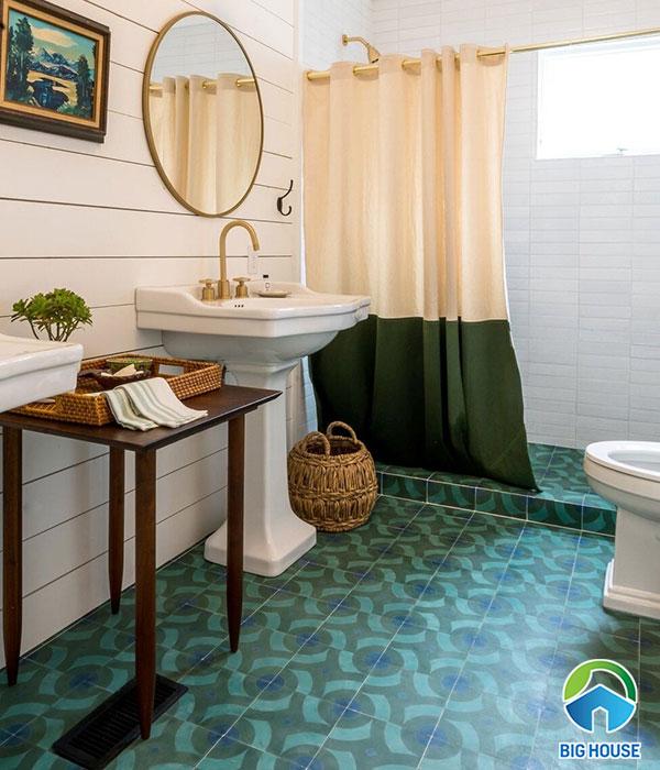 Mẫu gạch bông lát nền nhà tắm màu xanh ngọc bích