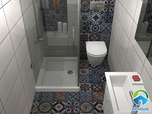 gạch bông ốp nhà vệ sinh tone màu đậm
