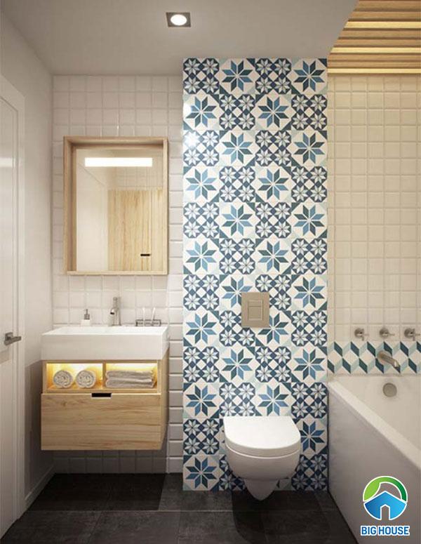 Gạch bông ốp nhà vệ sinh màu xanh, họa tiết hình khói